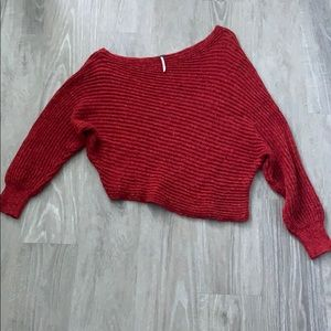 Free People Red Off Shoulder Sweater